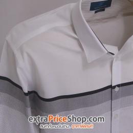 เสื้อเชิ้ต Slim Fit แขนยาวสีขาว ลายสีเทา-ดำ