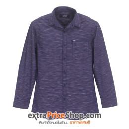 เสื้อเชิ้ตแขนยาวมีลายสีน้ำเงิน