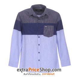 เสื้อเชิ้ตแขนยาวมีลายสีน้ำเงิน-ฟ้า