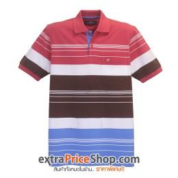 เสื้อโปโลลายขวางสีแดง-ขาว-น้ำตาล-ฟ้า