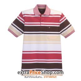 เสื้อโปโลลายขวางสีขาว-ครีม-แดง-น้ำตาล