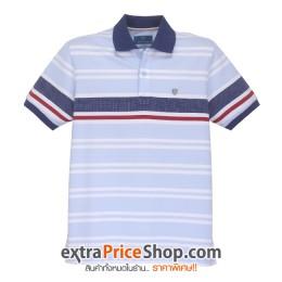เสื้อโปโล Slim Fit ลายขวางสีฟ้า-ขาว