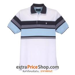 เสื้อโปโล Slim Fit สีขาว ลายสีฟ้า-ดำ