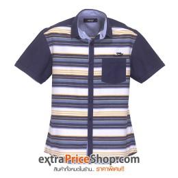 เสื้อเชิ้ตแขนสั้นลายสีน้ำเงิน-ขาว-เหลือง