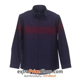 เสื้อเชิ้ต Slim Fit แขนยาวสีน้ำเงิน คาดสีม่วงแดง