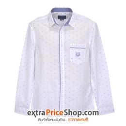 เสื้อเชิ้ต Slim Fit แขนยาวสีขาว มีลายสีฟ้า