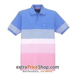 เสื้อโปโลลายสีฟ้า-ขาว-ชมพู