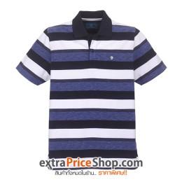 เสื้อโปโล Slim Fit ลายขวางสีน้ำเงิน-ขาว