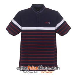 เสื้อโปโลสีน้ำเงิน ลายเส้นสีแดง