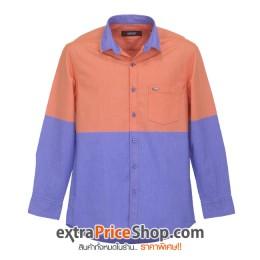เสื้อเชิ้ตแขนยาวทูโทนสีส้ม-ฟ้า