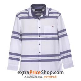 เสื้อเชิ้ตแขนยาวสีขาว ลายเส้นสีน้ำเงิน