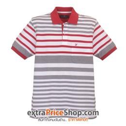 เสื้อโปโลลายสีขาว-แดง-เทา