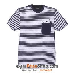 เสื้อยืด T-shirt ลายสีน้ำเงิน-ขาว