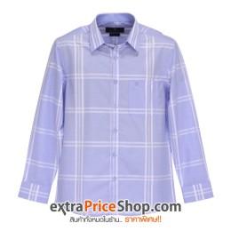 เสื้อเชิ้ต Slim Fit แขนยาวสีฟ้า ลายเส้นสีขาว