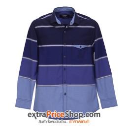 เสื้อเชิ้ตแขนยาวลายขวางสีน้ำเงิน