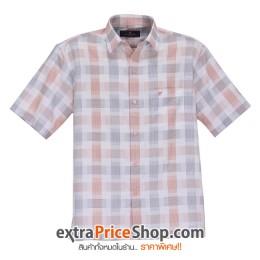 เสื้อเชิ้ตแขนสั้นลายสีขาว-ส้ม-เทา