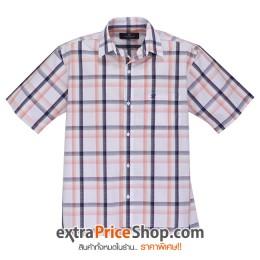 เสื้อเชิ้ตแขนสั้นลายสีขาว-ส้ม-ดำ