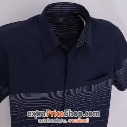 เสื้อเชิ้ตแขนสั้นสีน้ำเงิน ลายเส้นสีขาว