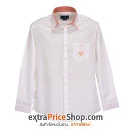 เสื้อเชิ้ต Slim Fit แขนยาวสีขาว ลายสีส้ม