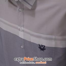 เสื้อเชิ้ต Slim Fit แขนยาวลายสีเทา-ขาว-น้ำเงิน