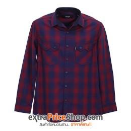 เสื้อเชิ้ตลายสก๊อตแขนยาว ลายสีแดง-น้ำเงิน