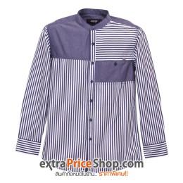 เสื้อเชิ้ตแขนยาว ลายสีน้ำเงิน-ขาว