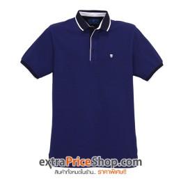 เสื้อโปโล Slim Fit สีน้ำเงินมีลาย