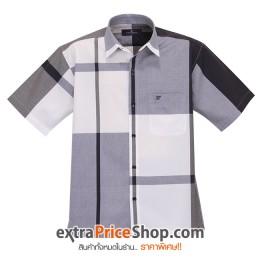 เสื้อเชิ้ตแขนสั้นลายสีขาว-น้ำเงินเข้ม-ดำ