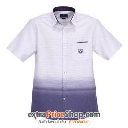 เสื้อเชิ้ต Slim Fit แขนสั้นสีขาว ลายสีน้ำเงิน