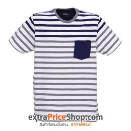 เสื้อยืด T-shirt สีขาว ลายขวางสีน้ำเงิน-เทา
