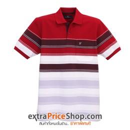 เสื้อโปโลลายขวางสีแดง-เทา-ขาว