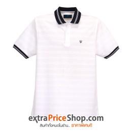 เสื้อโปโล Slim Fit สีขาวมีลาย