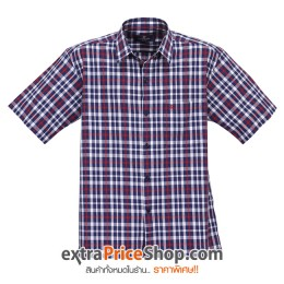 เสื้อเชิ้ตแขนสั้นลายสีน้ำเงิน-ขาว-แดง