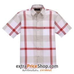เสื้อเชิ้ตแขนสั้นลายสีขาว-แดง-น้ำตาล