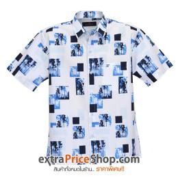 เสื้อเชิ้ตแขนสั้นพิมพ์ลายสีฟ้า-ขาว