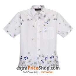 เสื้อเชิ้ตแขนสั้นสีขาวลายดอกไม้