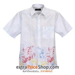 เสื้อเชิ้ตแขนสั้นพิมพ์ลายสีขาว-ฟ้า