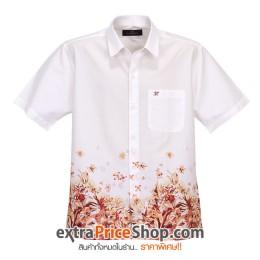 เสื้อเชิ้ตแขนสั้นสีขาว-พิมพ์ลายสีส้ม
