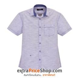 เสื้อเชิ้ตแขนสั้นลายสีฟ้า-ขาว