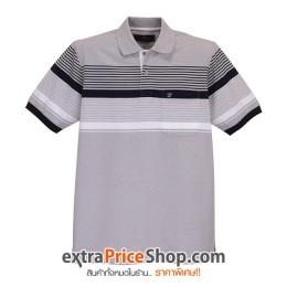 เสื้อโปโลสีเทาลายเส้นสีขาว-ดำ