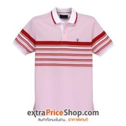 เสื้อโปโล Slim Fit สีชมพู ลายเส้นสีแดง