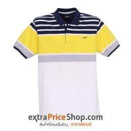 เสื้อโปโลลายสีขาว-น้ำเงิน-เหลือง