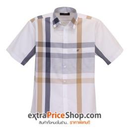 เสื้อเชิ้ตแขนสั้นสีขาว ลายเส้นสีน้ำเงิน-น้ำตาล