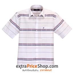 เสื้อเชิ้ตแขนสั้นสีขาว ลายเส้นสีน้ำเงิน-แดง