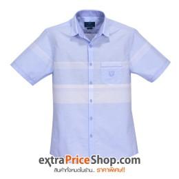 เสื้อเชิ้ต Slim Fit แขนสั้นมีลายสีฟ้า-ขาว