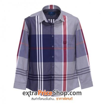 เสื้อเชิ้ต Slim Fit แขนยาวสีน้ำเงิน-ขาว-แดง
