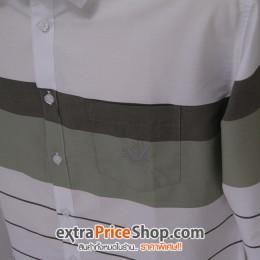 เสื้อเชิ้ต Slim Fit แขนยาวสีขาวลายเส้นสีเขียว