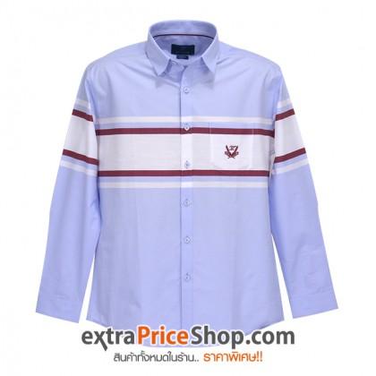 เสื้อเชิ้ต Slim Fit แขนยาวสีฟ้า ลายขวางสีแดง-ขาว
