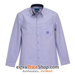 เสื้อเชิ้ต Slim Fit แขนยาวลายเส้นสีฟ้า-ขาว