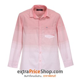 เสื้อเชิ้ตแขนยาวลายสีส้มโอรส-ขาว
